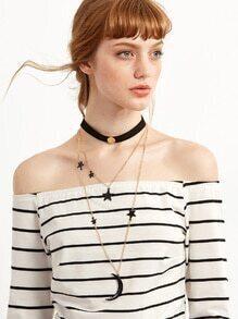 Black Layered Star Moon Choker Necklace