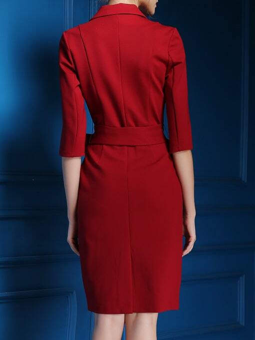 Robe col v avec poche et lacet rouge french romwe for Interieur paupiere inferieure rouge