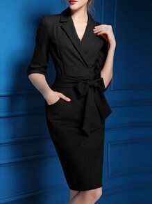Black V Neck Pockets Tie-Waist Dress