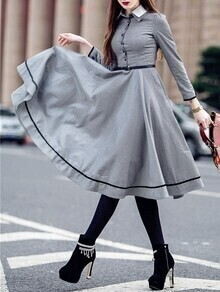 Grey Lapel Houndstooth Belted A-Line Dress