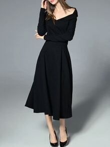 Black V Neck Backless A-Line Dress
