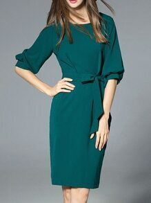 Green Tie-Waist Pockets Sheath Dress