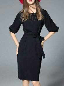 Black Tie-Waist Pockets Sheath Dress