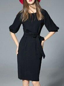 Black Tie-Waist Pockets Sheath Dress