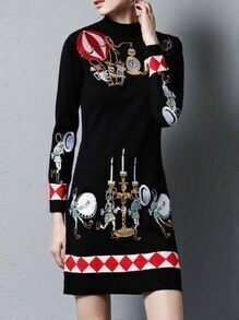 Black Knit Embroidered Shift Dress