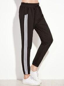 Black Striped Side Pants
