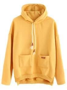 Yellow Slit Side High Low Hooded Sweatshirt