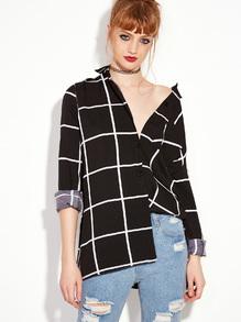 Black Long Sleeve Plaid Buttons Shirt