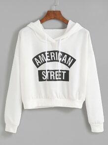 White Letter Print Hooded Sweatshirt
