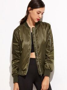 Army Green Pockets Zipper Bomber Jacket