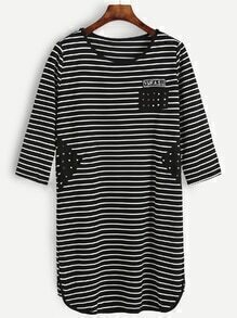 Black White Striped Contrast Studded Patch Tee Dress