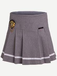 Grey Striped Trim Badge Embellished Pleated Skirt With Zipper
