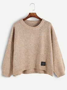 Dropped Shoulder Seam Dip Hem Patch Sweater