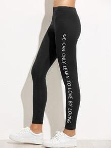 Black Slogan Print Leggings