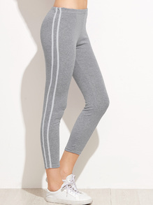 Grey Striped Side Leggings