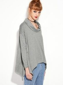 Grey Cowl Neck Asymmetric T-shirt