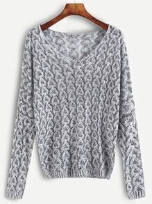 Grey Open Knit Sweater