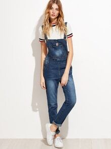 Blue Bleach Wash Denim Overall Jumpsuit