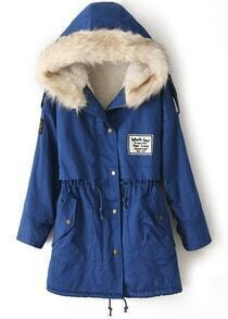 Royal Blue Fur Hooded Zipper Embellished Fleece Inside Military Coat
