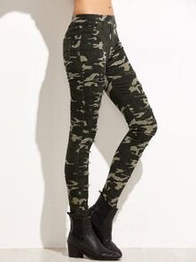 Camo Print Rip Patch Skinny Pants