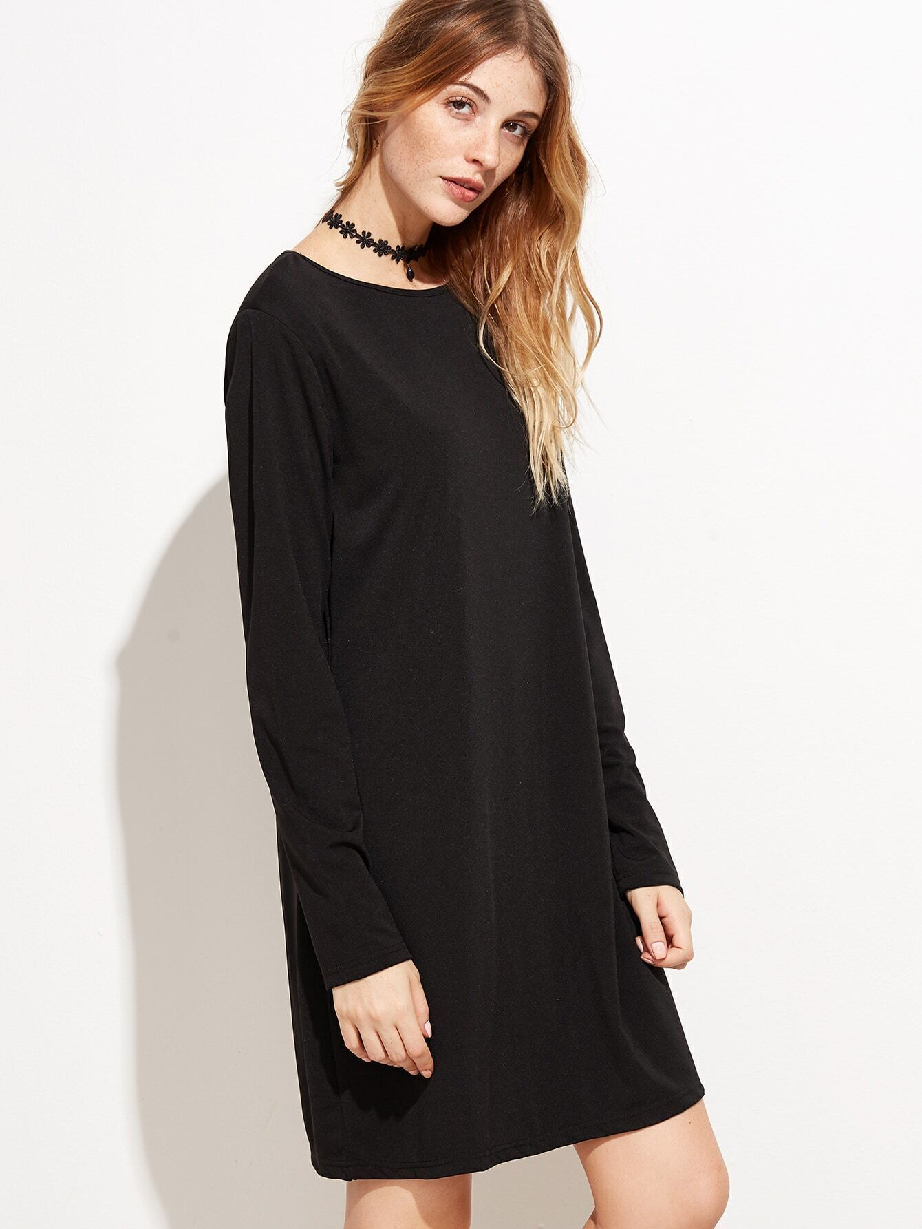 robe t shirt manche longue noir french romwe With robe t shirt longue