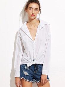 White Slit Shoulder Tie Front Pocket Shirt