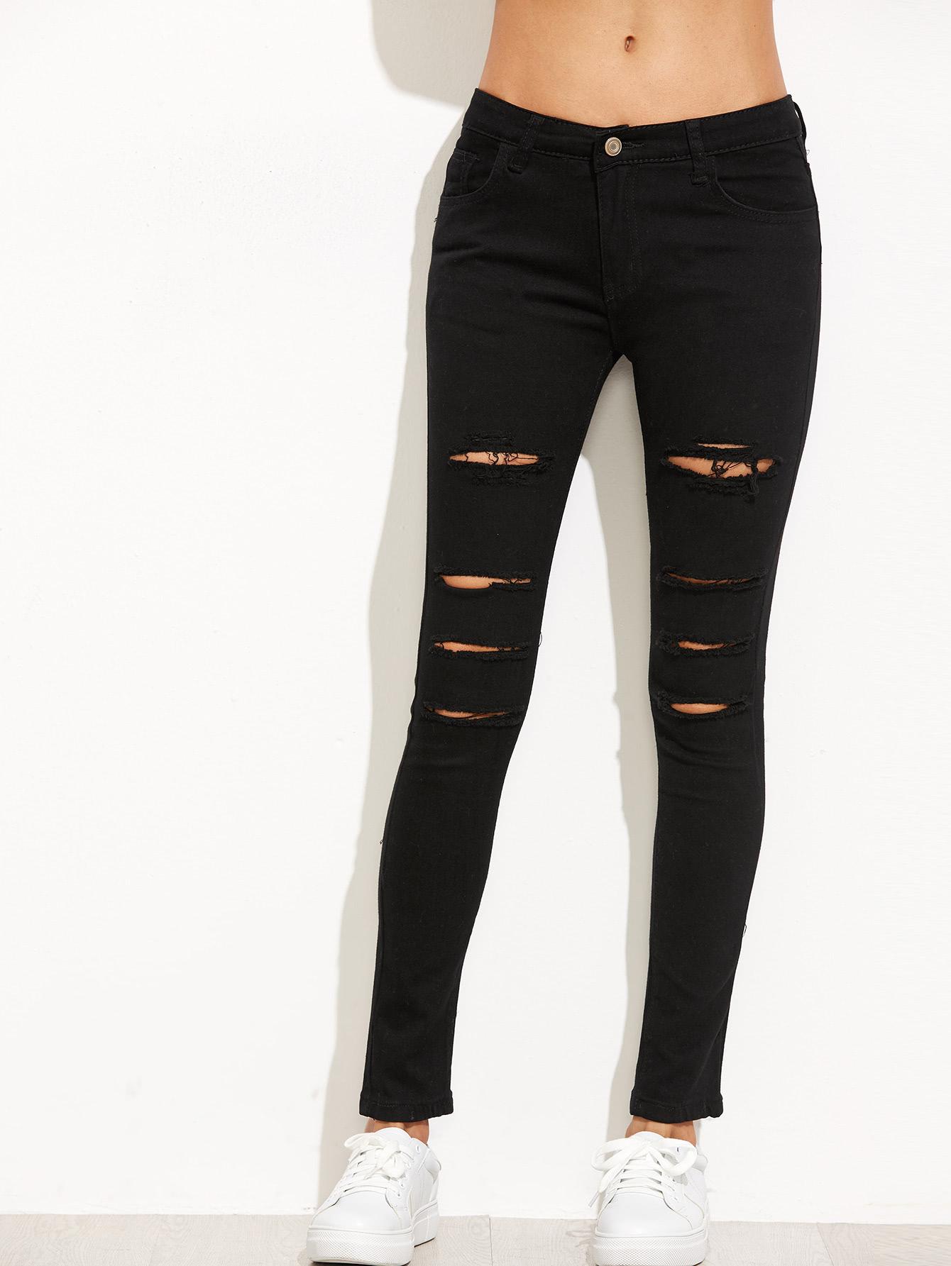 fb103979 Pantalones rotos skinny rotos - negro