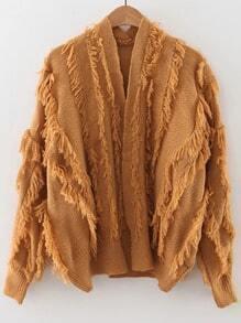 Khaki Fringe Detail Open Front Cardigan