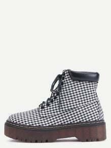 Plaid Cloth Round Toe Lace Up Flatform Boots