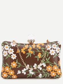 Brown PU Floral Print Jewelled Evening Bag