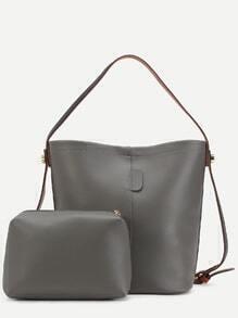 Grey Faux Leather Convertible Shoulder Bag Set