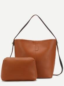 Brown Faux Leather Convertible Shoulder Bag Set
