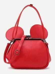 Red PU Metallic Trim Convertible Shoulder Bag With Ear