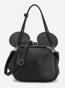 Black PU Metallic Trim Convertible Shoulder Bag With Ear