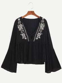 Black Deep V Neck Bell Sleeve Embroidered Blouse