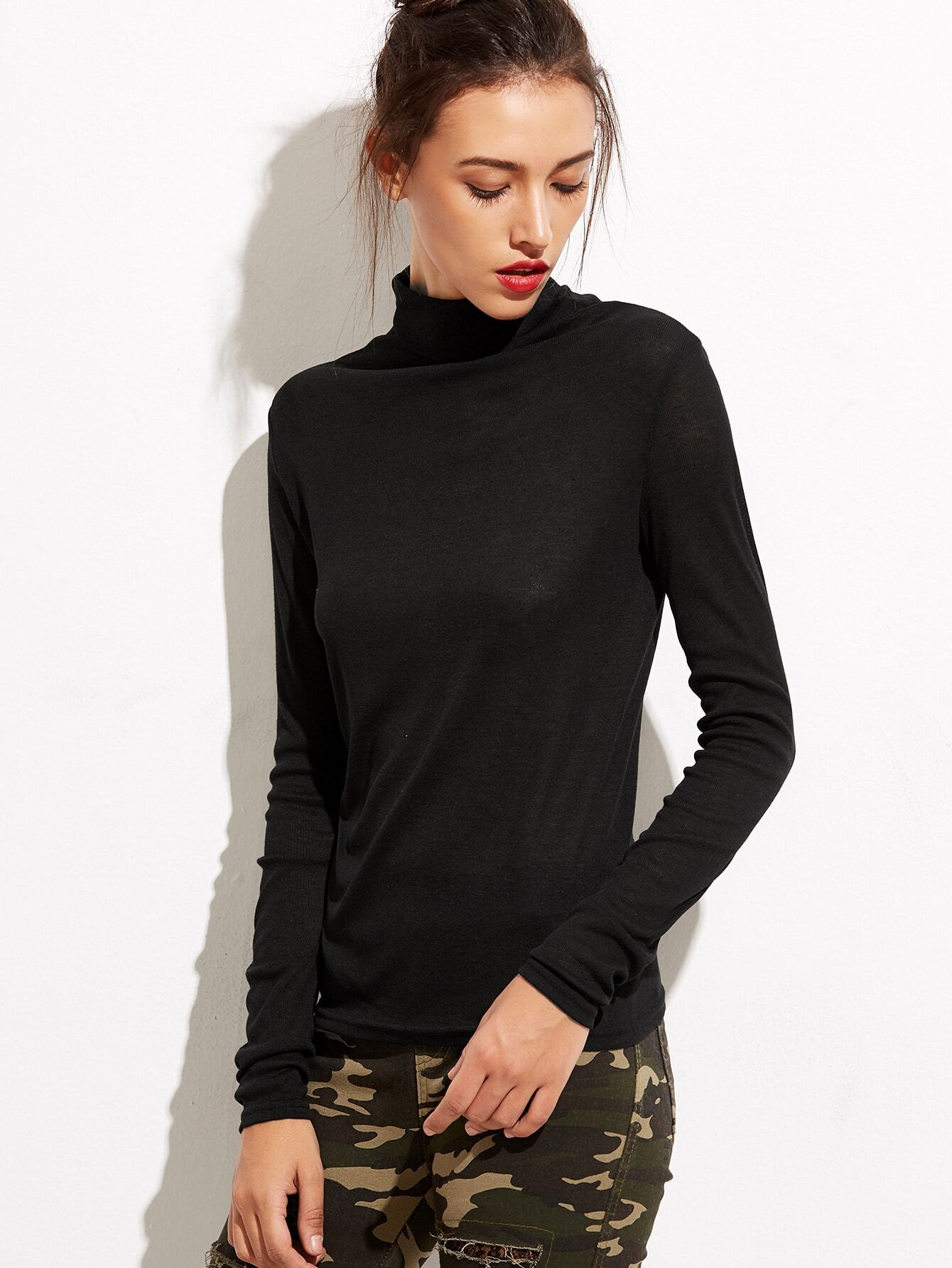 Black turtleneck long sleeve t shirtfor women romwe for Long sleeve black turtleneck shirt