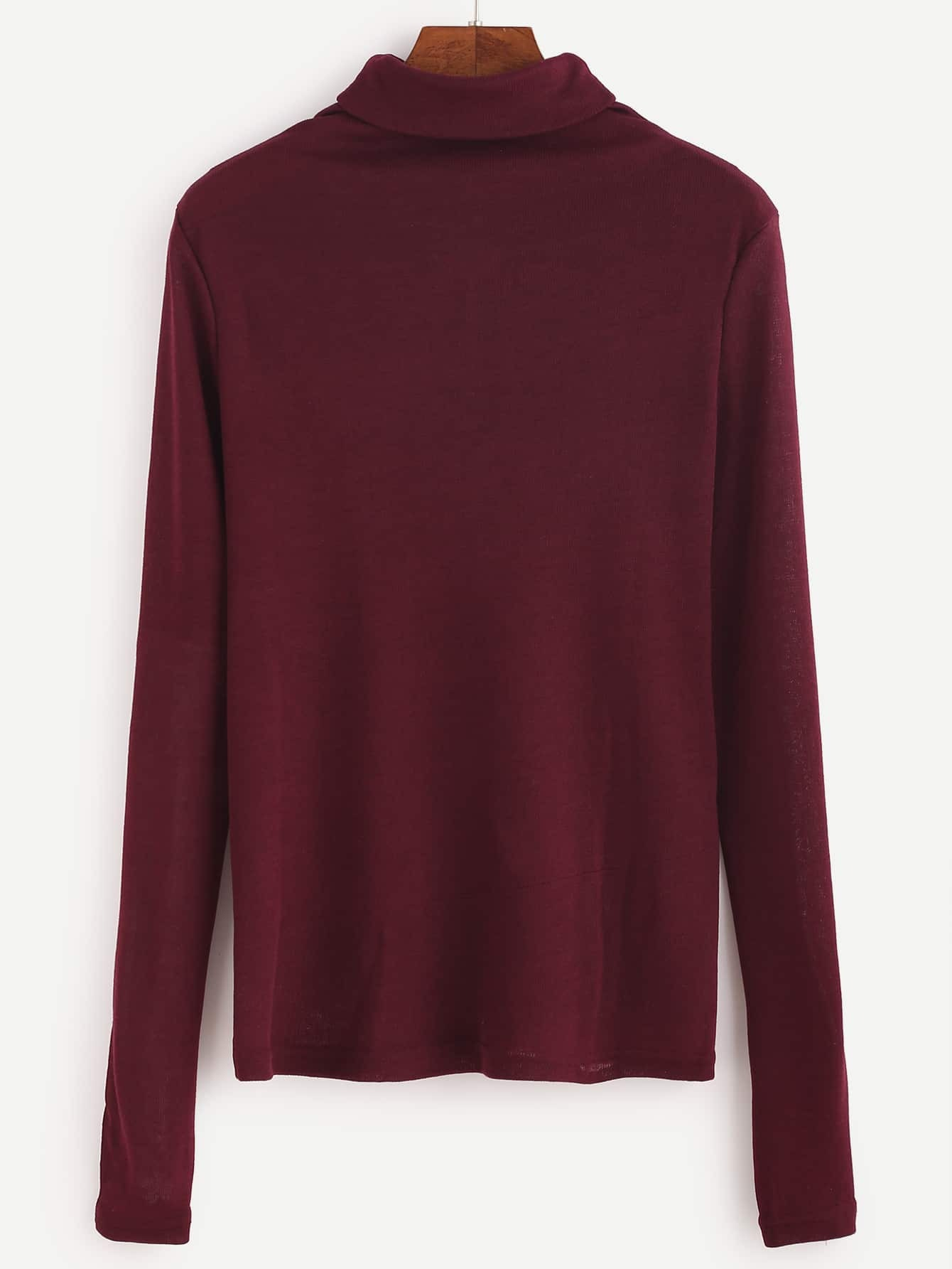 Burgundy turtleneck long sleeve t shirtfor women romwe for Turtleneck under t shirt
