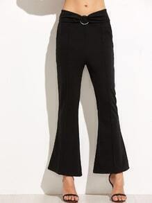 Black Flare Pants With Ring Detail