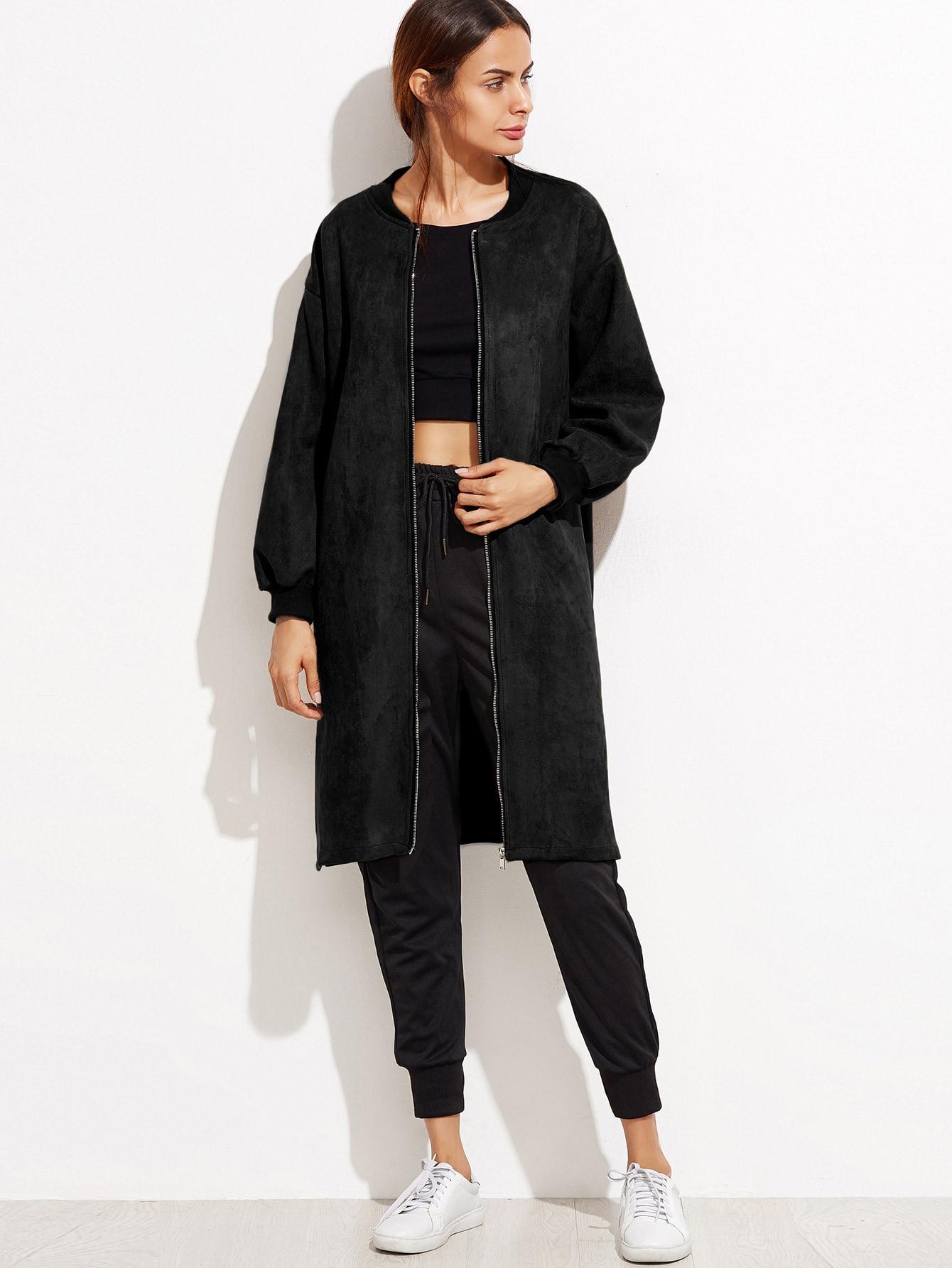 Veste en su d avec zip noir french romwe for Acheter maison suede