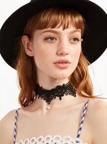 Black Lace Faux Pearl Choker Necklace