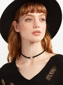 Black Simple Coin Choker Necklace