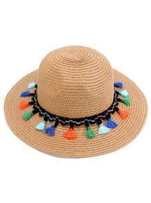 Light Coffee Tassel Trim Straw Hat