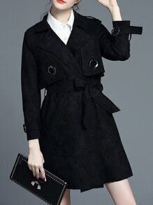 Black Lapel Tie-Waist Pockets Coat