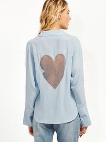 Pale Blue Heart Contrast Mesh Back Button Shirt