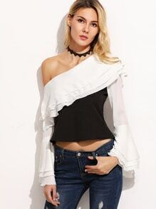 Contrast One Shoulder Bell Sleeve Ruffle Chiffon Top