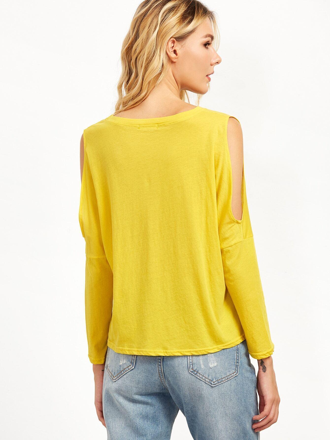 Yellow open shoulder long sleeve t shirt for Yellow long sleeved t shirt
