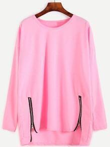Pink Drop Shoulder Dip Hem T-shirt With Zip Detail