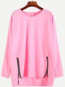 Pink Drop Shoulder Dip Hem T-shirt With Zip Detail