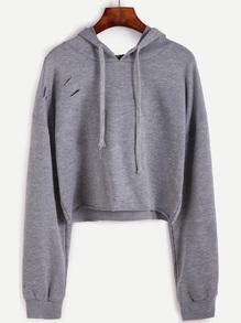 kurze Kapuzensweatshirt mit zerrissen Design Tunnelzug Drop Schulter
