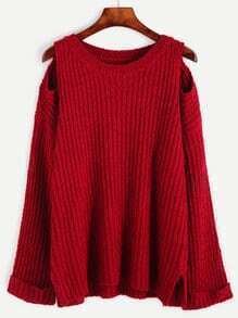Red Open Shoulder Slit Side Sweater